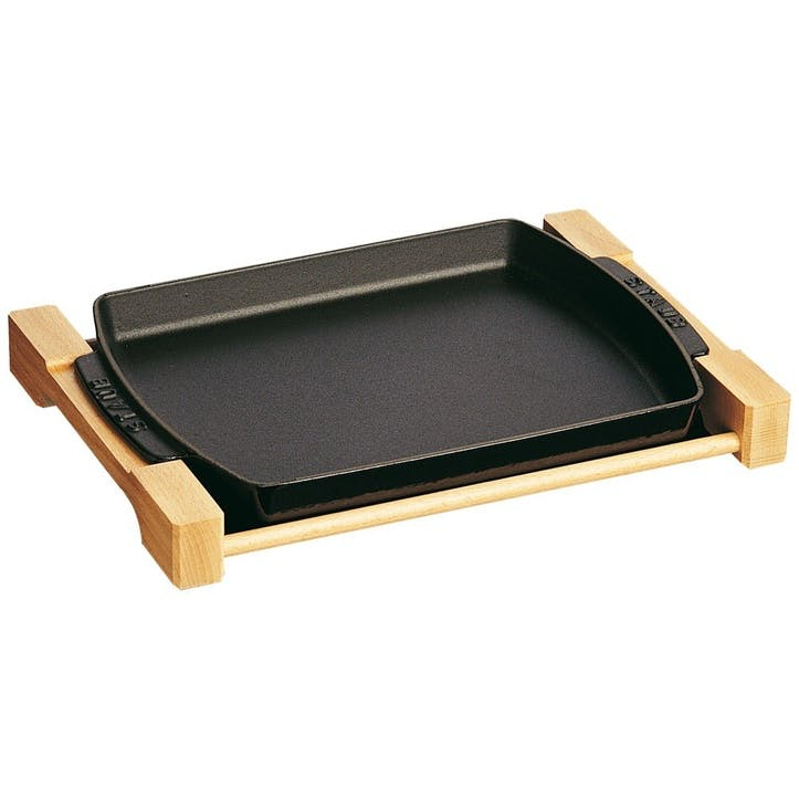 Cast Iron Serving Dish With Wooden Board