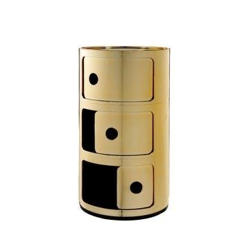 Componibili, 3 Door Cabinet, Gold