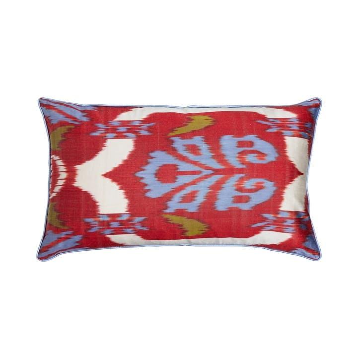 Red & Blue Silk Ikat Cushion, Rectangular