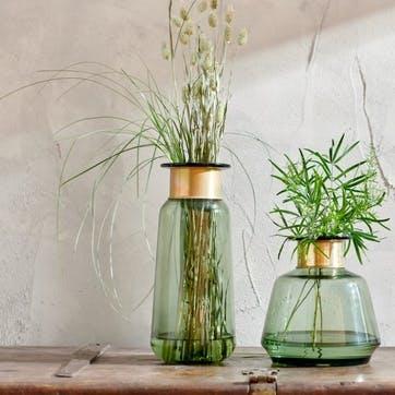 Miza Glass Vase, Green, Large