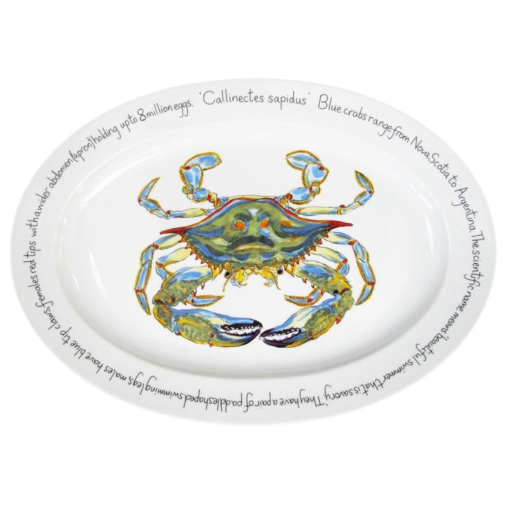 Blue Crab Oval Plate - 39cm