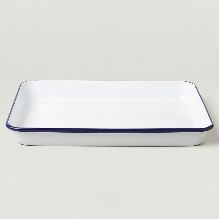 Tray, White with Blue Rim