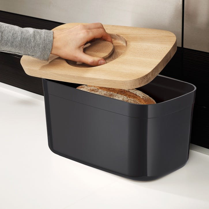 Bread Bin with Bamboo Cutting Board Lid; Black