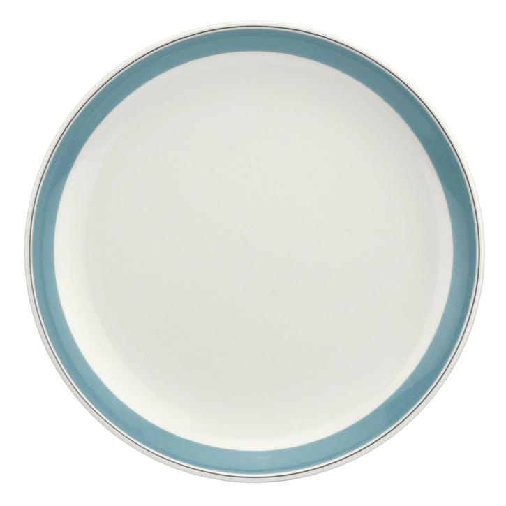 "Westerly Coupe Plate, Set of Four - 10.5""; Turquoise Band"