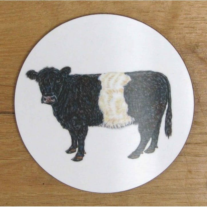 Belted Galloway Cow Coaster - 10cm