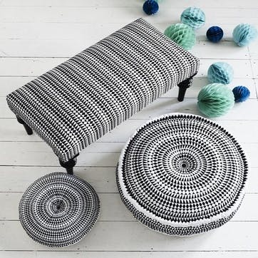 Medina Embroidered Pouff, 60cm, Black/White