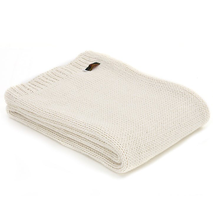 Knitted Alpaca Throw; Cream