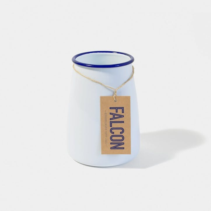 Utensil Pot, White with Blue Rim