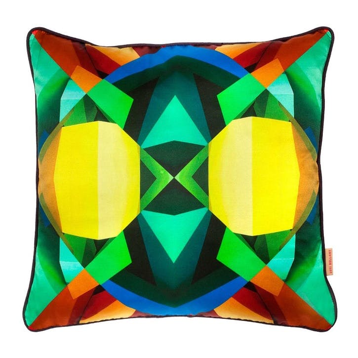 Teal Grid Blocks, Square Silk Cushion, H46 x W46cm