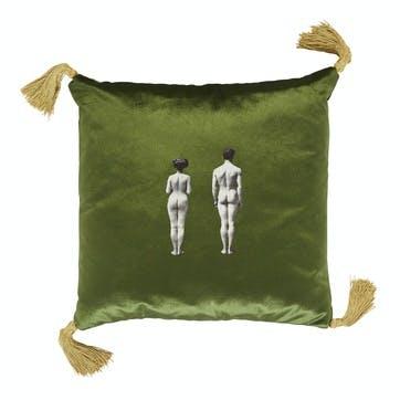 The Models Velvet Cushion, Meadow Green