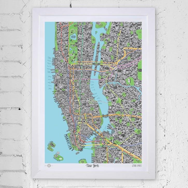 Map Hand Drawn of New York, 59cm x 42cm, Medium