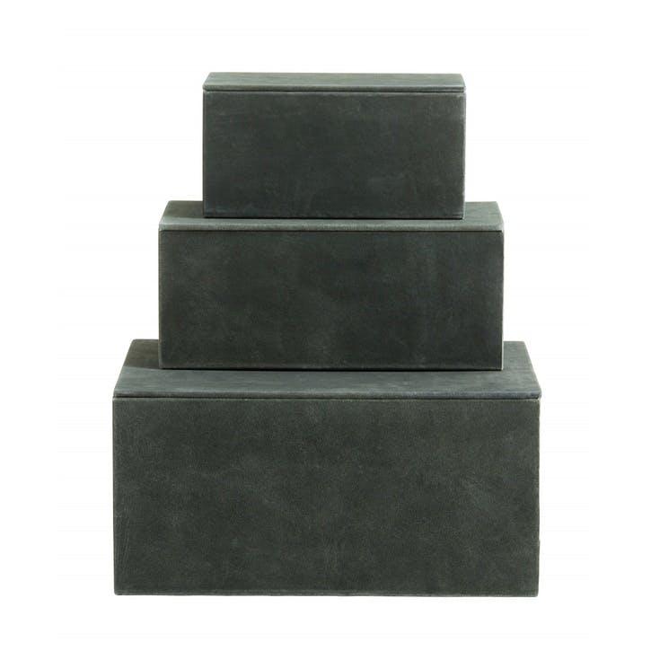 Suede Storage Boxes, Sage Green, Set of 3