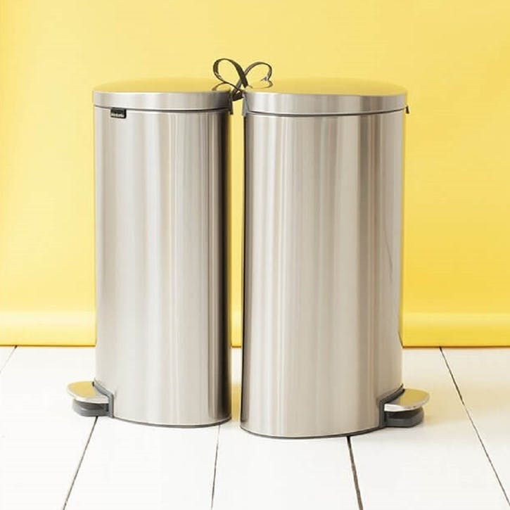 FlatBack+ Space Saving Pedal Bin, 40L, Matt Steel Fingerprint Proof