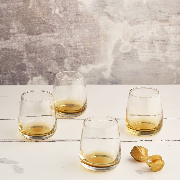 Amber Glass Tumbler, Set of 4