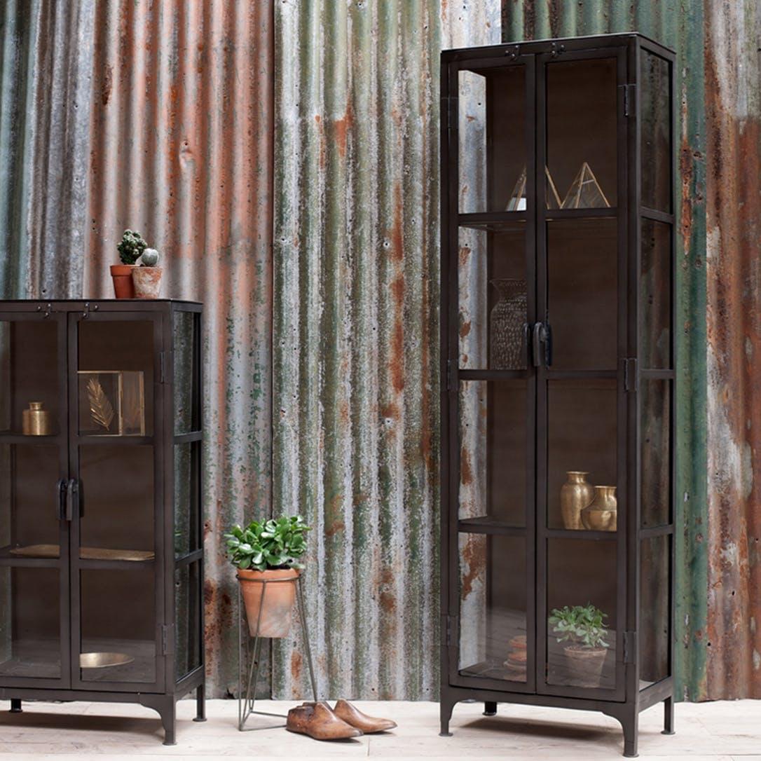Prezola Tiko Iron Glass Tall Cabinet Nkuku