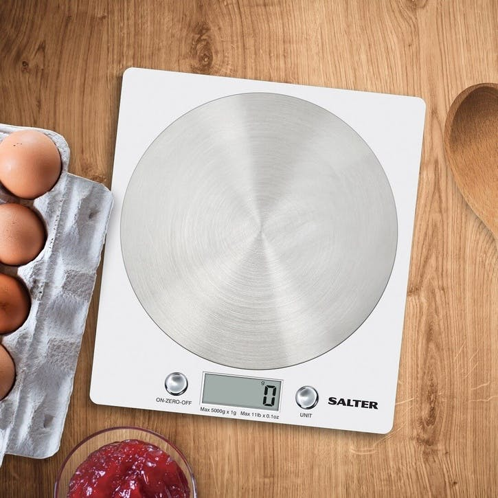Disc Electronic Digital Kitchen Scales, White
