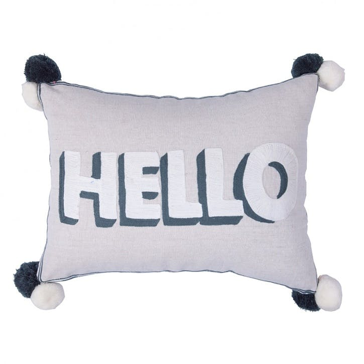 Hello Embroidered Cushion