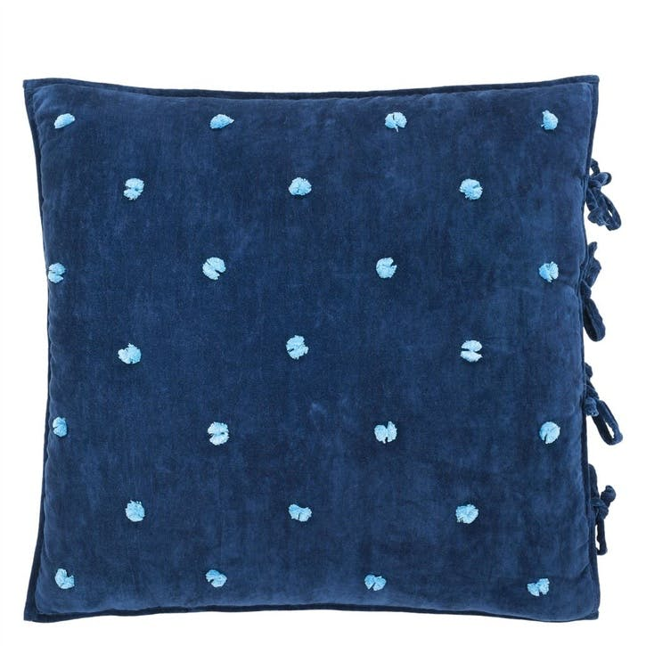 Sevanti Indigo Cushion with Pom Poms