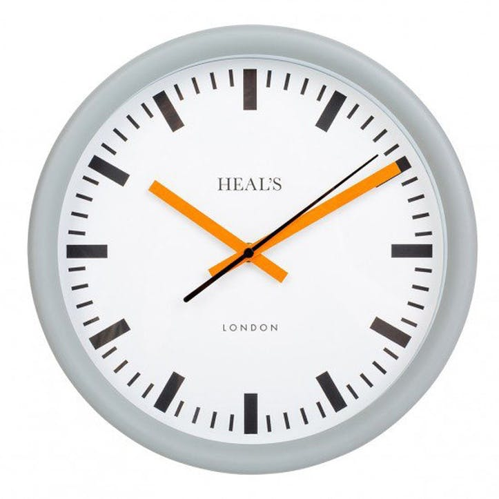Grey & Orange Wall Clock, 30cm