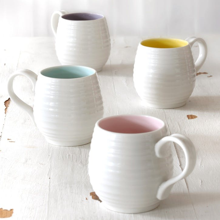 Honey Pot Mug, Set of 4; Celadon