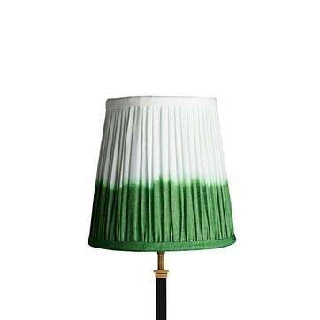 Tall Tapered Shade, 25cm, Green Shibori Linen