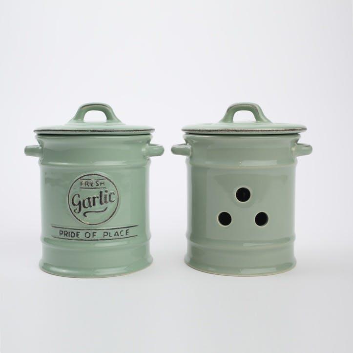 Pride of Place Garlic Jar, Old Green