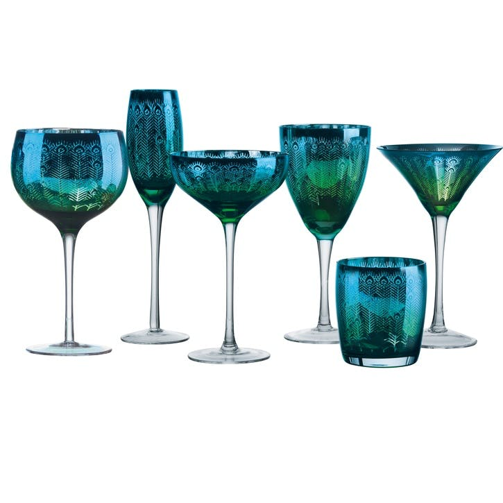 Peacock Martini Glasses, Set of 2