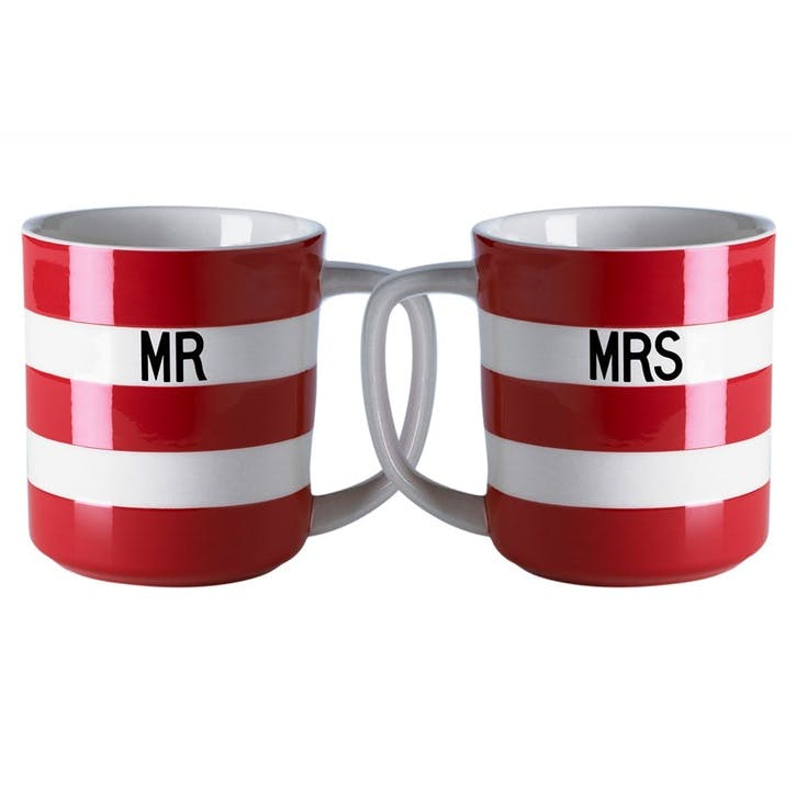 Cornish Red 'Mr & Mrs' Mugs, 10oz