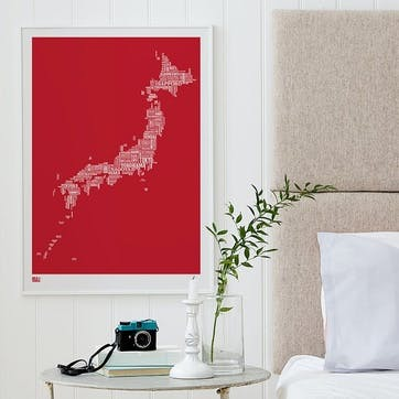 Type Map Screen Print Japan, 50cm x 70cm, Poppy Red