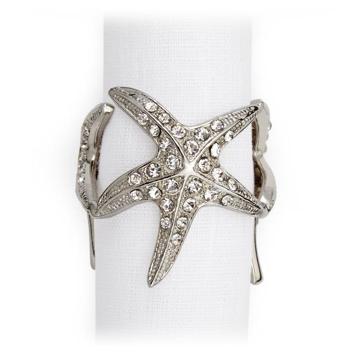 Starfish Set of 4 Napkin Rings, Platinum