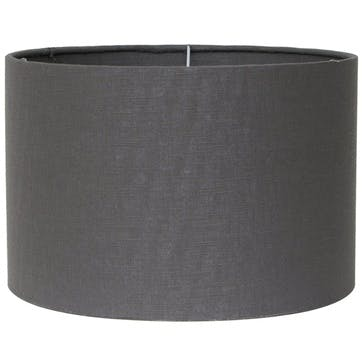 Double Lined Linen Drum Shade - 35cm; Grey