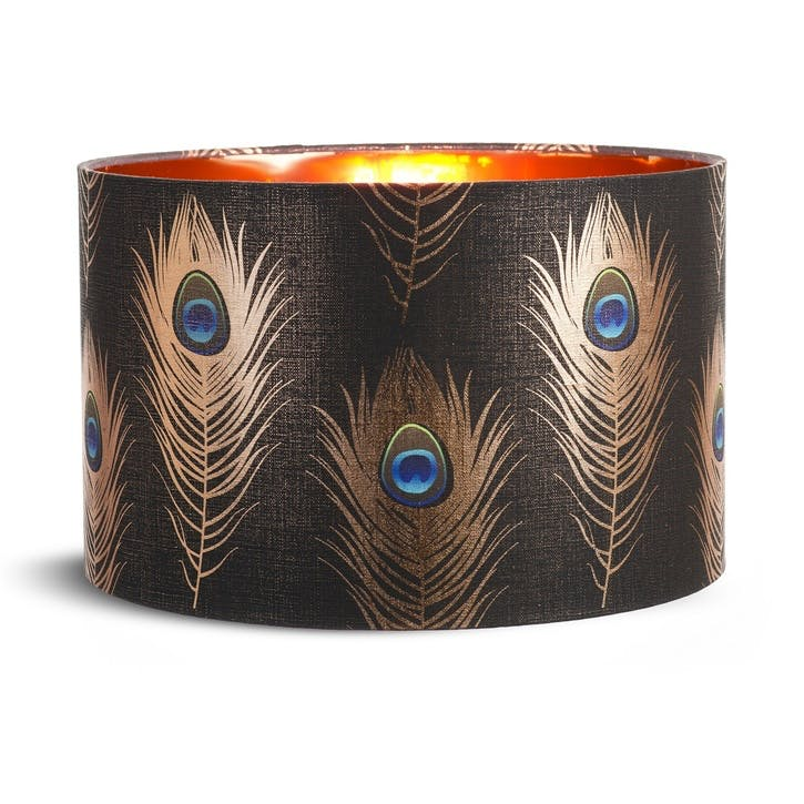 Peacock Feathers Drum Pendant Lampshade, Large