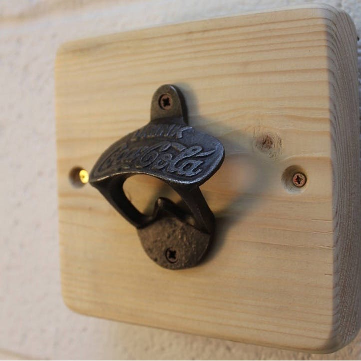 Reclaimed Wooden Wall Bottle Opener - 14 x 14cm; Natural