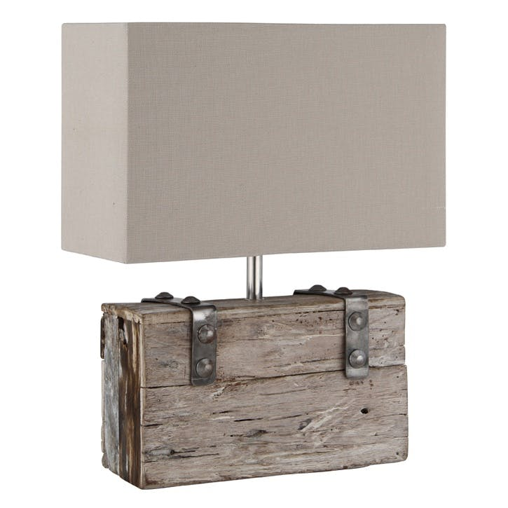 Gatto Recycled Wood and Metal Table Lamp with Shade