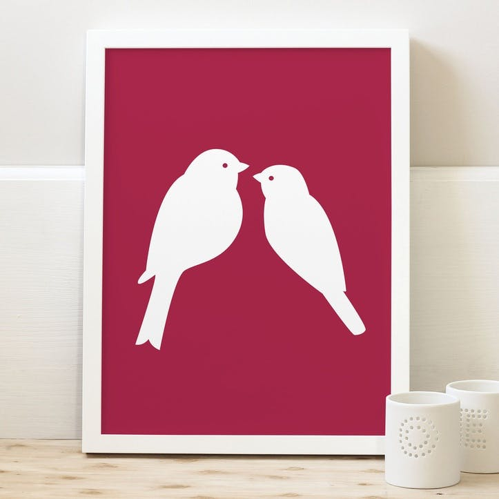 'Love Birds' Print, A3, Cranberry