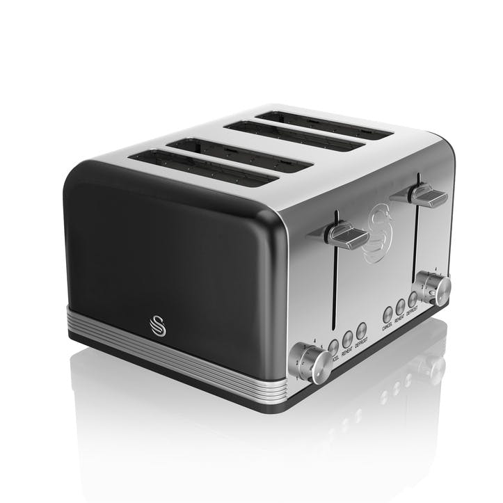Retro 4-Slice Toaster, Black