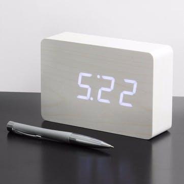 Brick Click Clock White/ White LED, 15cm