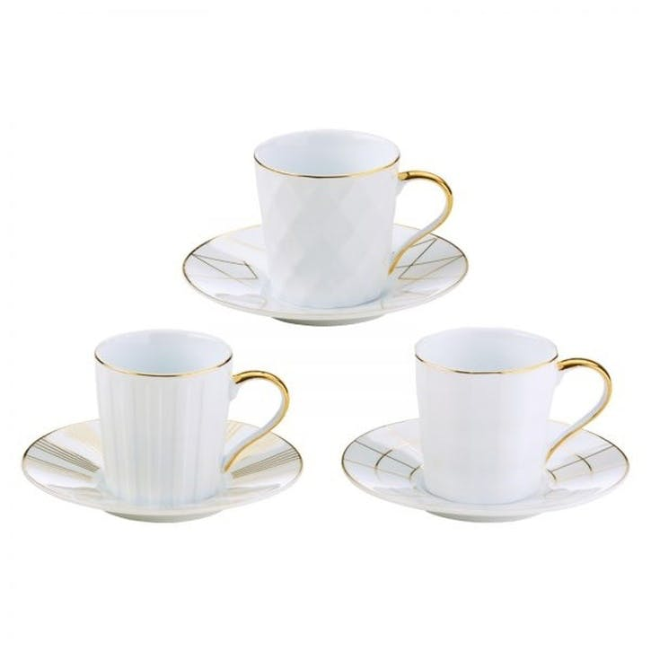 Lux Set of 3 Espresso Cups & Saucers, Gold