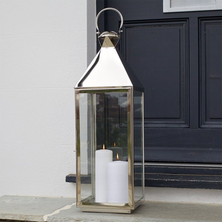 Topsham Stainless Steel Pillar Candle Lantern, Large