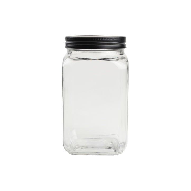 Tall Square Glass Jar With Black Lid