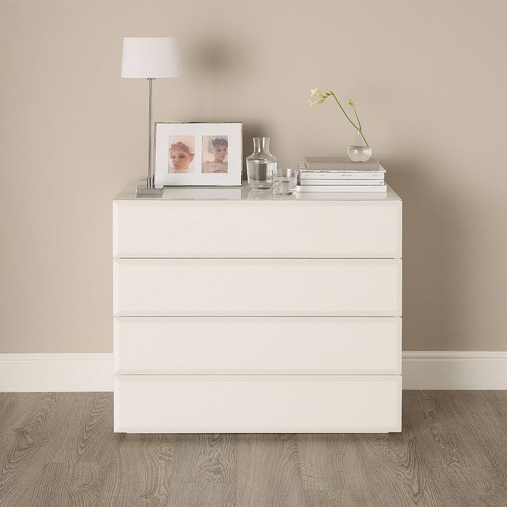 Carlton Glass Chest Of Drawers, White