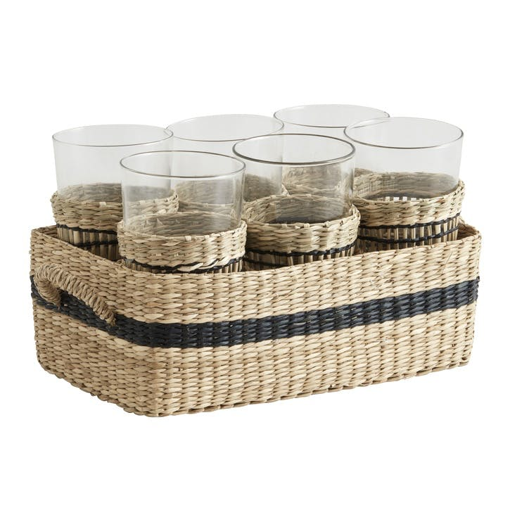 Seagrass Basket and Tumblers, Set of 6