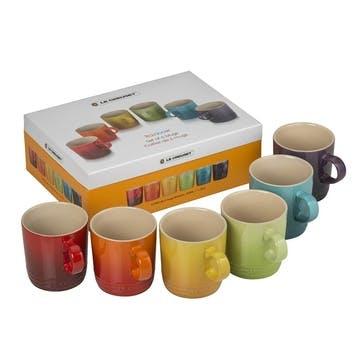 Rainbow Mugs, Set of 6 - 350ml