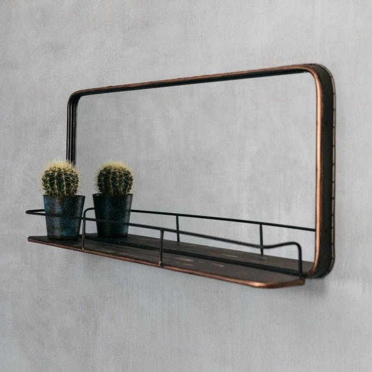 Ola Copper Mirror With Shelf
