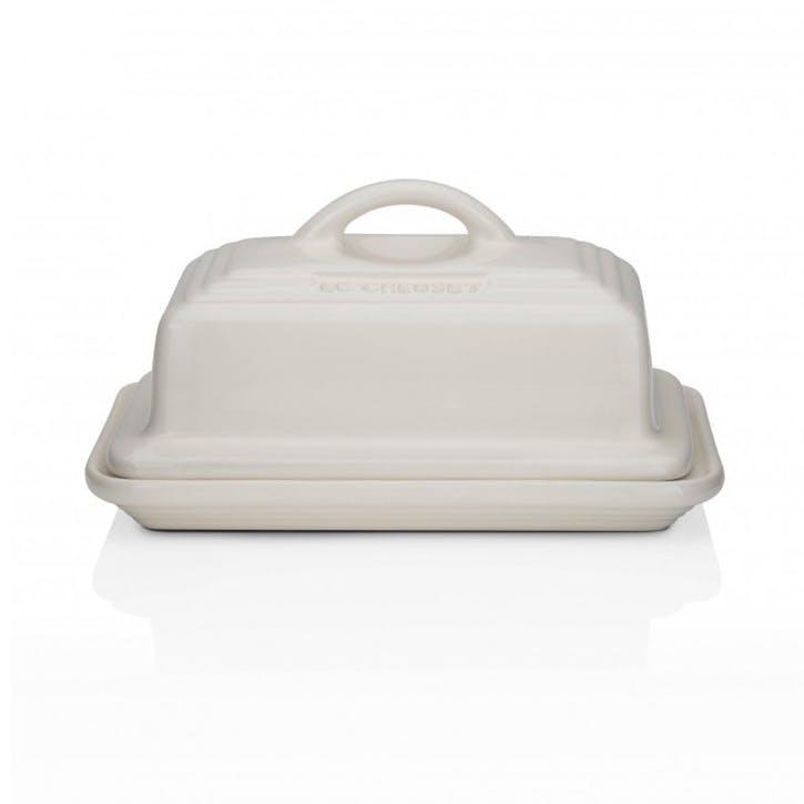 Stoneware Butter Dish; Almond