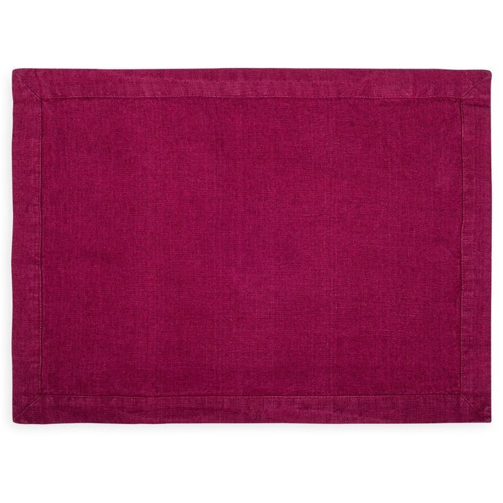 Linen Placemat; Wine Red