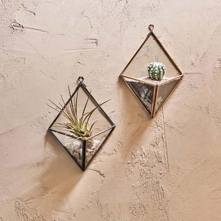 Karana Wall Hung Planter - Diamond; Antique Black