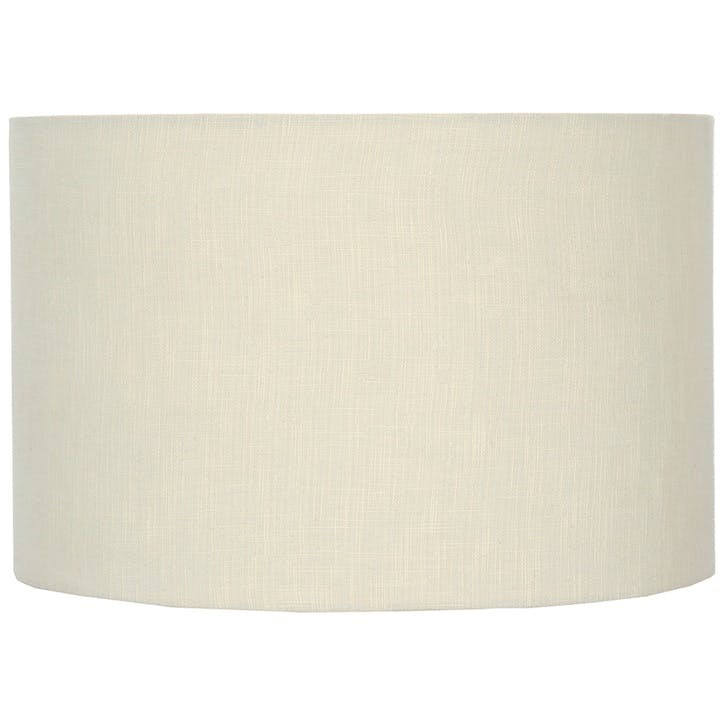 Double Lined Linen Drum Shade - 30cm; Vanilla