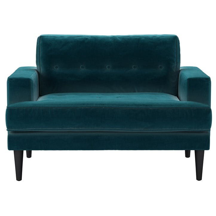 Mabel Love Seat, Deep Turquoise Cotton Matt Velvet