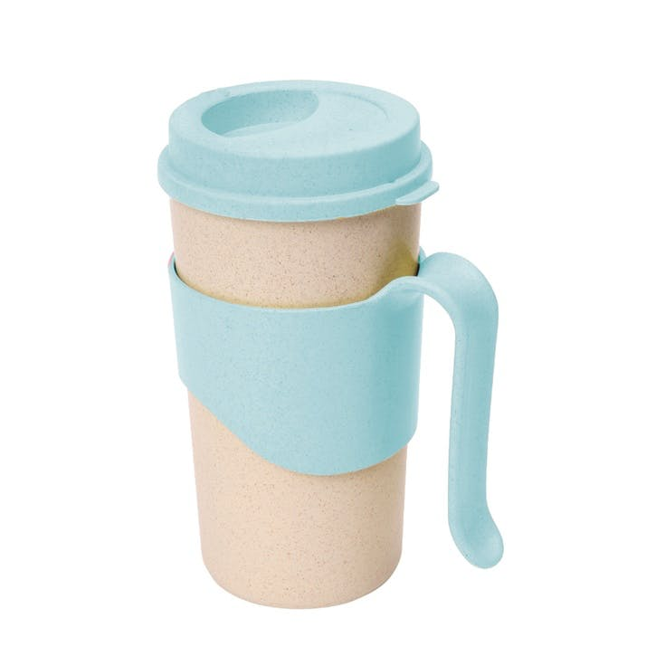Pastel Wheatfibre Travel Mug, 450ml, Sky Blue